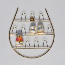 Závesný kovový zlatý stojan na 12 náprstkov, stojan 15x14 cm