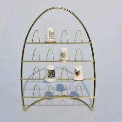 Stojaci kovový zlatý stojan na 16 náprstkov, stojan 20x14 cm