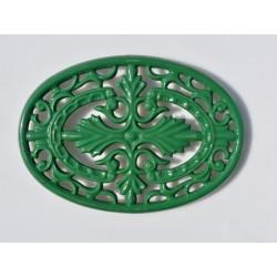 Kovová podložka oválna zelená 14,5 cm x 27 cm