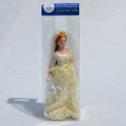 1:12 Dáma s meštekom -porcelánová bábika do domčeka pre bábiky, 15 cm