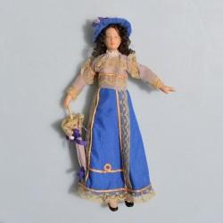 1:12 Dáma s dáždnikom -porcelánová bábika do domčeka pre bábiky, 16,5 cm