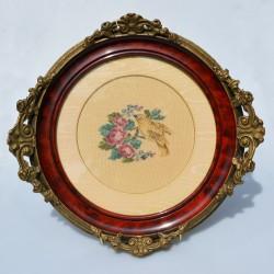 Gobelín - vyšívaný obraz Ruže a fialky 21,5x19 cm
