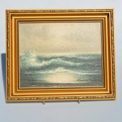 Obraz - olejomaľba Oceán v hnedom 31x25,5x2 cm