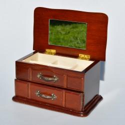 Drevená skrinka - šperkovnica so zrkadlom 10x19x11 cm