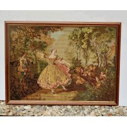 Gobelín - vyšívaný obraz Chalúpky, rozmer rámu 30,5x27 cm