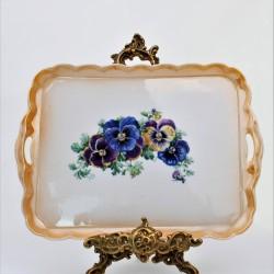 Starožitný porcelánový podnos Chalúpky 24,5x18,5 cm, krakelovanie