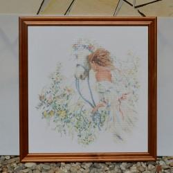 Gobelín - vyšívaný obraz Dáma v automobile 48x38 cm