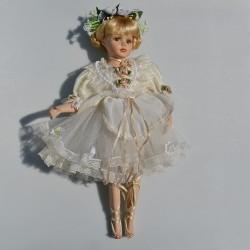 40 cm Porcelánová bábika - balerína s balet. špičkami + stojan