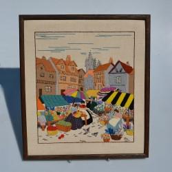 Gobelín - vyšívaný obraz Dievčatá s kruhmi 56x31 cm