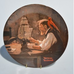 Porcelánový tanier The Ship Builder, Knowles 21,5 cm + certifikát, orig.obal