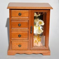 predane Drevená skrinka - šperkovnica so zrkadlom a maľovaným sklom 26 x21,5x12,5 cm