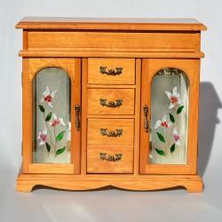 predané Drevená skrinka - šperkovnica so zrkadlom a maľovaným sklom 31x33,5x12,5 cm