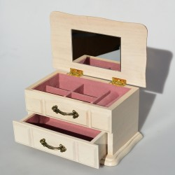 Drevená skrinka - šperkovnica so zrkadlom 10x19x11,5 cm