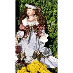 Gieves&Bentley 90 cm vysoká zberateľská porcelánová bábika Elizabeth + stojan, pôvod.balenie