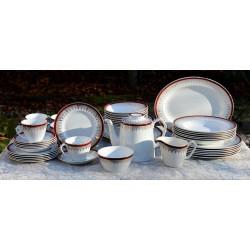 Starožitná obedová sada pre 6 osôb, Paragon, Meadow Vale, 6x plytké+6xhlboké taniere +6x trojset + cukor +mlieko + servír.tanier