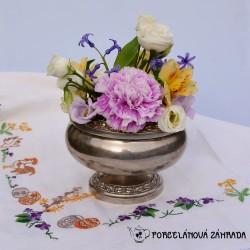 Kovová váza / dóza na kvety postriebrená Silverplated, Ianthé, 13x16 cm, vo vnútri usadený vodný kameň