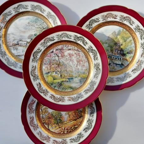 Sada 4 ks porcelánové taniere Ročné obdobia, Limoges 22 cm, na 1 tanieri ošuch farby a vlásočnica