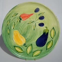 Starožitný keramický podnos / tanier Kvety, L&Sons Hanley 26x2,5 cm, krakelovanie