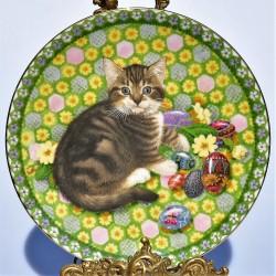 Porcelánový tanier  mačka s gaštanmi