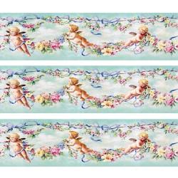 1:12 Bordúra na tapety do domčeka Ružové ruže - 1 kus A4